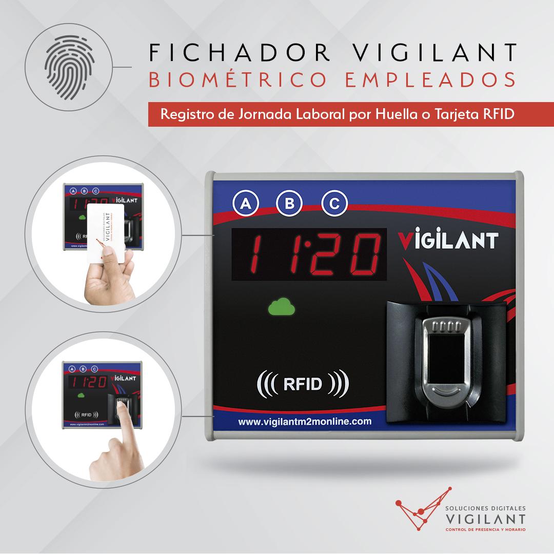 FICHADOR BIOMÉTRICO - control de presencia - control horario - vigilant